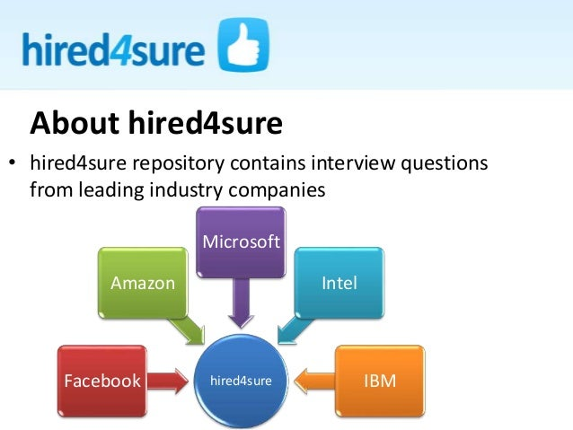• hired4sure repository contains interview questions from leading industry companies About hired4sure hired4sureFacebook A...