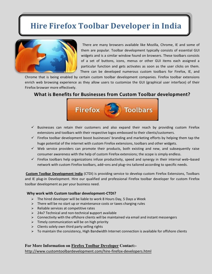 Hire Firefox Toolbar Developer in India                                   There are many browsers available like Mozilla, ...