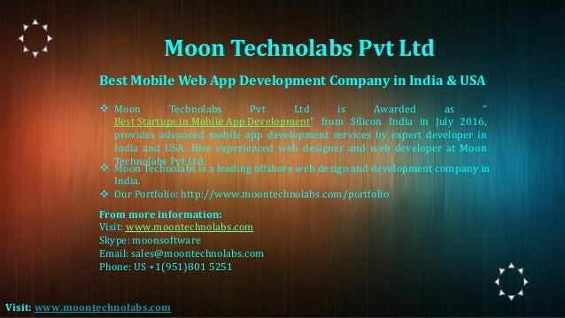 """Best Mobile Web App Development Company in India & USA ❖ Moon Technolabs Pvt Ltd is Awarded as """" Best Startups in Mobile A..."""