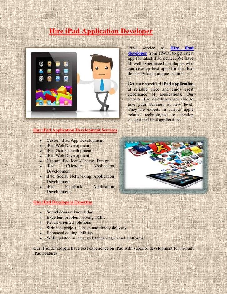 Hire iPad Application Developer                                                   Find service to Hire iPad               ...