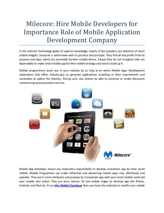 Milecore: Hire Mobile Developers for Importance Role of Mobile Application Development Company In the Internet Technology ...
