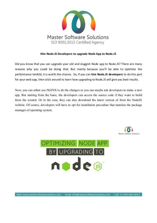 Hire Nodejs Developers To Upgrade Node App To Node