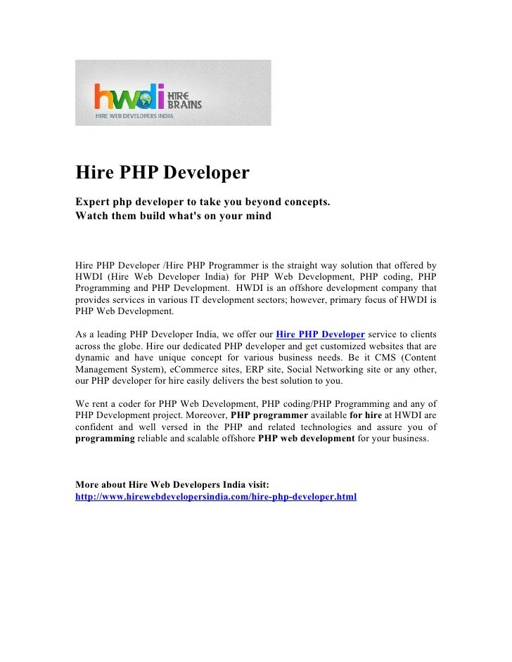 Hire PHP DeveloperExpert php developer to take you beyond concepts.Watch them build whats on your mindHire PHP Developer /...