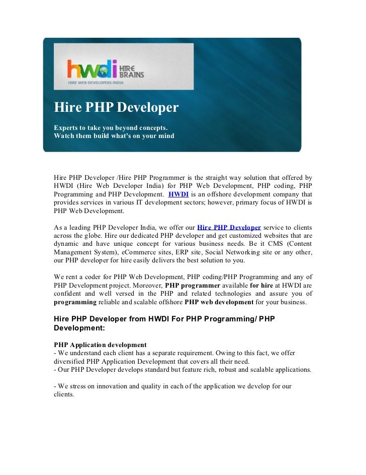 Hire PHP DeveloperExperts to take you beyond concepts.Watch them build whats on your mindHire PHP Developer /Hire PHP Prog...