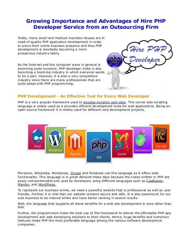 Growing Importance and Advantages of Hire PHP       Developer Service from an Outsourcing FirmToday, many small and medium...