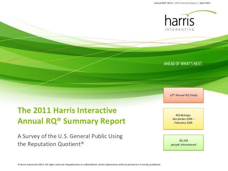 Annual RQ® 2011 | USA Summary Report | April 2011                                                                         ...