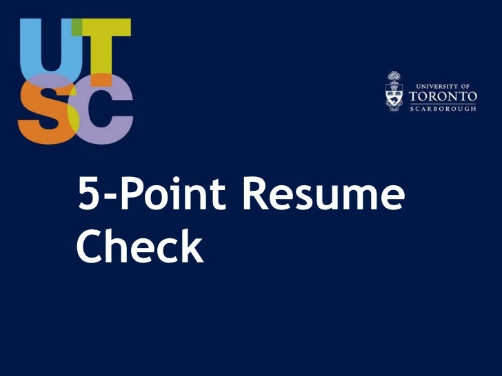 5-Point Resume Check