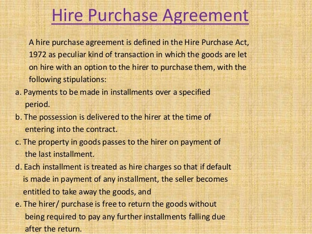 Hire Purchase Agreement  Unitedworld School Of Business
