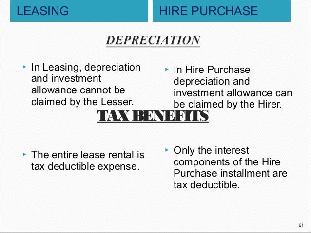 leasing hire purchase We have low-interest rate business bike loans and leases that cater to all  hire  purchase is a rental agreement but differs from finance lease in that the.