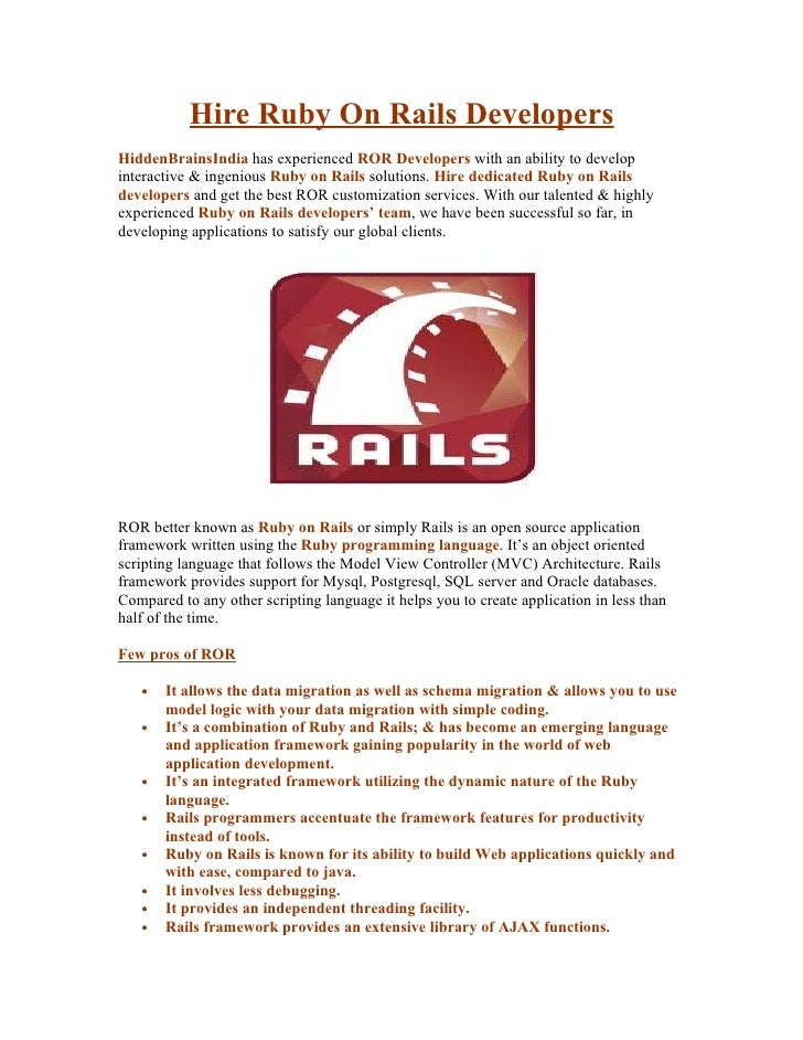 Hire Ruby On Rails Developers HiddenBrainsIndia has experienced ROR Developers with an ability to develop interactive & in...