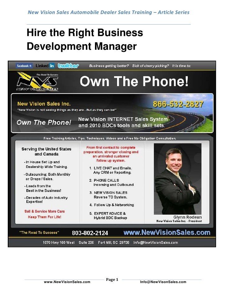 New Vision Sales Automobile Dealer Sales Training – Article SeriesHire the Right Business Development Manager<br />Often, ...