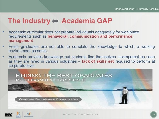 ManpowerGroup | Friday, October 16, 2015 10 ManpowerGroup – Humanly Possible The Industry Academia GAP • Academic curricul...