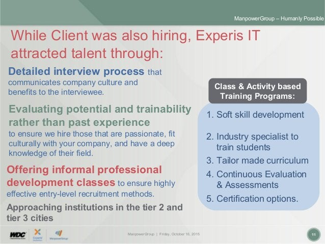 ManpowerGroup | Friday, October 16, 2015 11 ManpowerGroup – Humanly Possible While Client was also hiring, Experis IT attr...