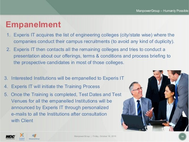ManpowerGroup | Friday, October 16, 2015 15 ManpowerGroup – Humanly Possible Empanelment 3. Interested Institutions will b...