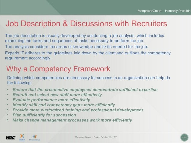 ManpowerGroup | Friday, October 16, 2015 18 ManpowerGroup – Humanly Possible Job Description & Discussions with Recruiters...