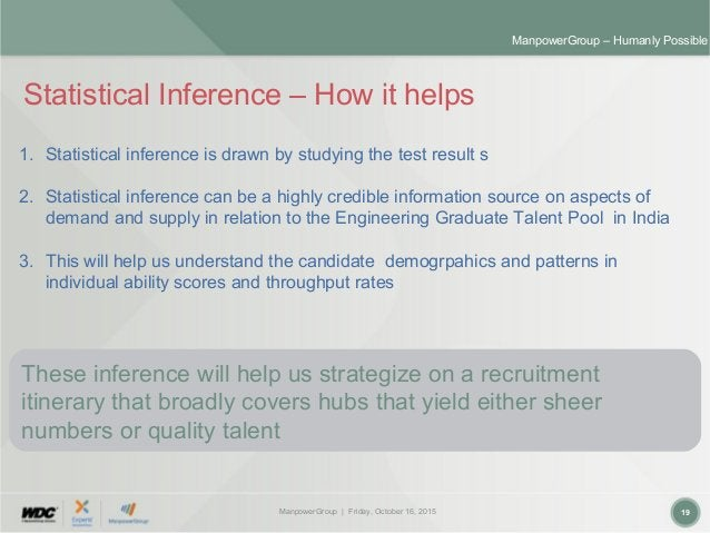 ManpowerGroup | Friday, October 16, 2015 19 ManpowerGroup – Humanly Possible Statistical Inference – How it helps 1. Stati...