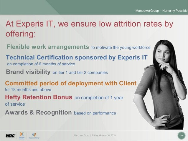 ManpowerGroup | Friday, October 16, 2015 29 ManpowerGroup – Humanly Possible At Experis IT, we ensure low attrition rates ...