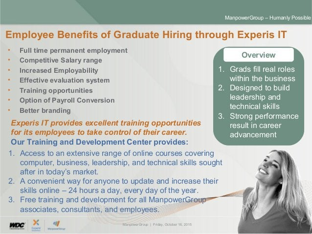 ManpowerGroup | Friday, October 16, 2015 30 ManpowerGroup – Humanly Possible • Full time permanent employment • Competitiv...