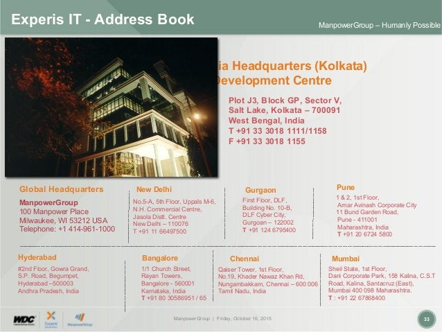 ManpowerGroup | Friday, October 16, 2015 33 ManpowerGroup – Humanly Possible Experis IT - Address Book New Delhi No.5-A, 5...