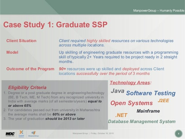ManpowerGroup | Friday, October 16, 2015 5 ManpowerGroup – Humanly Possible Case Study 1: Graduate SSP Client Situation Cl...