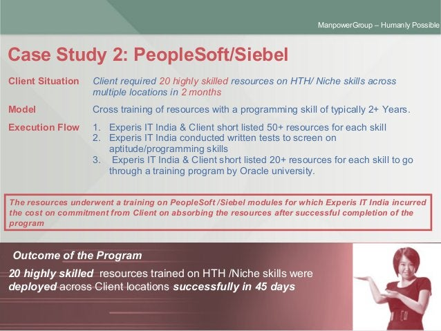 ManpowerGroup | Friday, October 16, 2015 6 ManpowerGroup – Humanly Possible Case Study 2: PeopleSoft/Siebel Outcome of the...