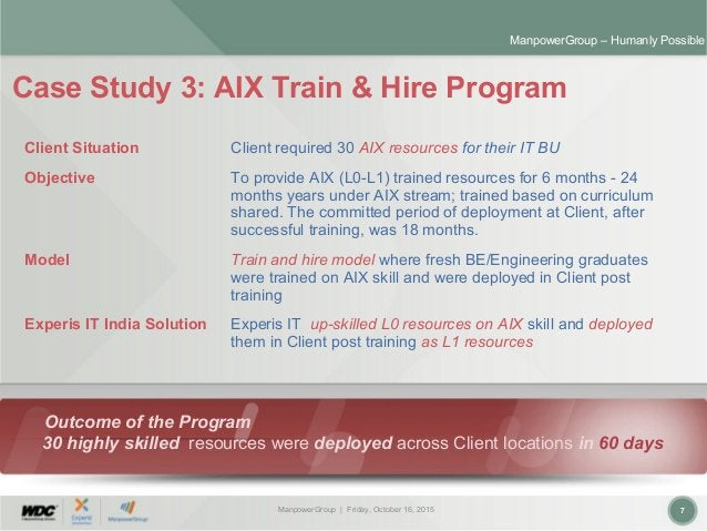 ManpowerGroup | Friday, October 16, 2015 7 ManpowerGroup – Humanly Possible Case Study 3: AIX Train & Hire Program Outcome...