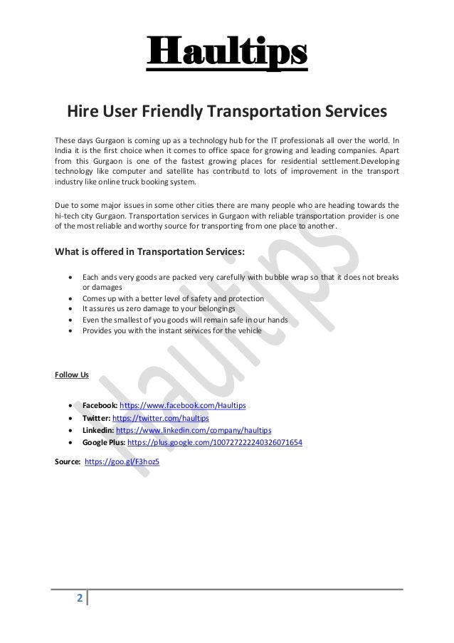 Hire User Friendly Transportation Services Slide 2