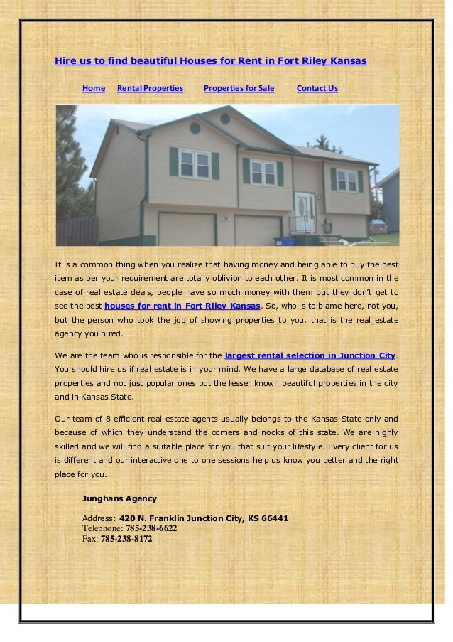 Hire us to find beautiful houses for rent in fort riley kansas