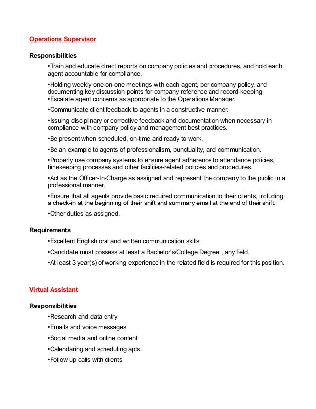 Operations Supervisor Responsibilities •Train and educate direct reports on company policies and procedures, and hold each...