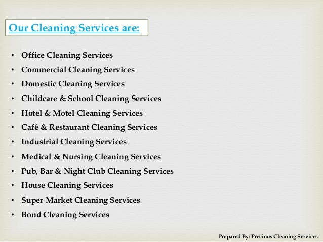 3. Prepared By: Precious Cleaning Services ...