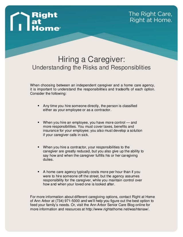 hiring a caregiver risks and responsibilities arbor