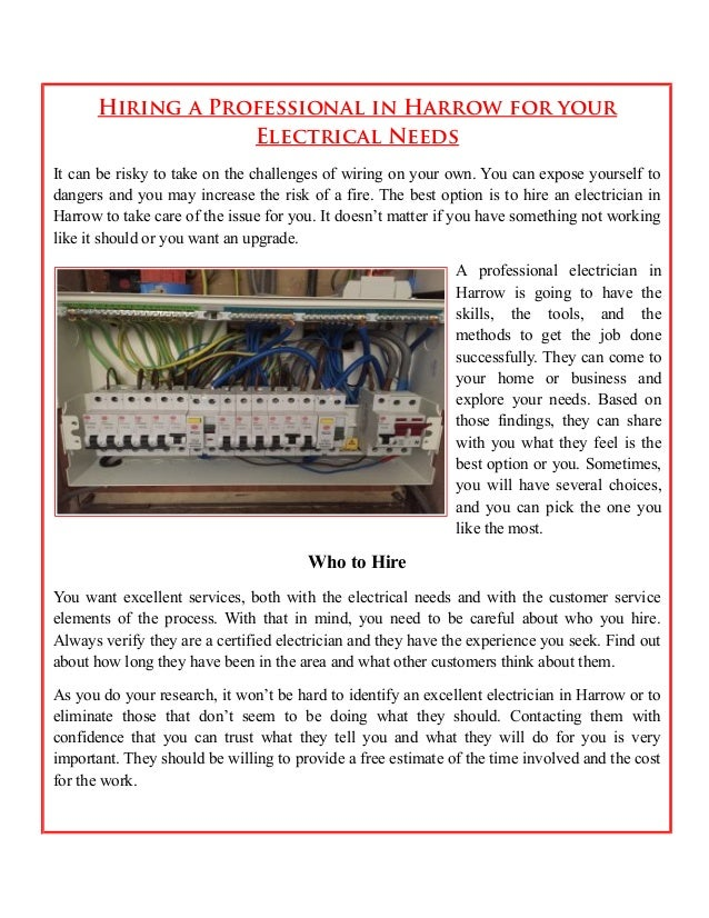 Hiring a professional in harrow for your electrical needs on