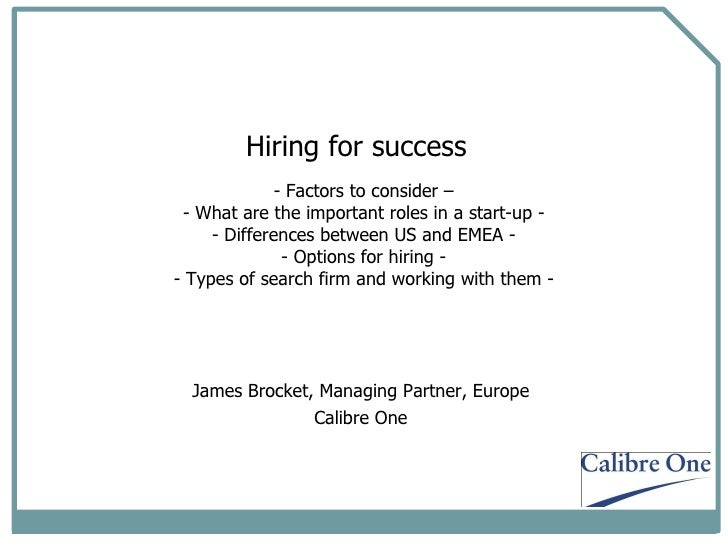 <ul><li>Factors to consider – - What are the important roles in a start-up - - Differences between US and EMEA - - Options...