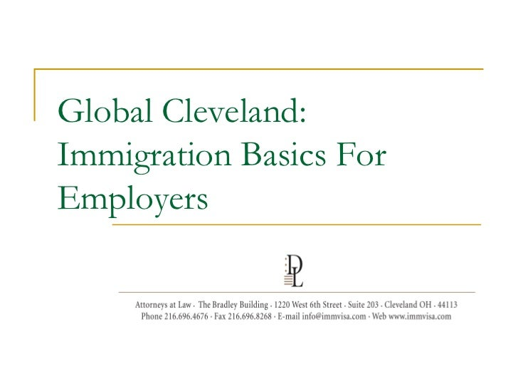 Global Cleveland:Immigration Basics ForEmployers