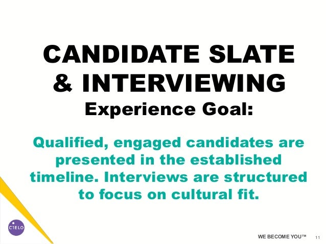 11WE BECOME YOU™ CANDIDATE SLATE & INTERVIEWING Experience Goal: Qualified, engaged candidates are presented in the establ...