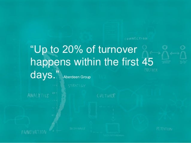 """13WE BECOME YOU™ """"Up to 20% of turnover happens within the first 45 days."""" -Aberdeen Group"""