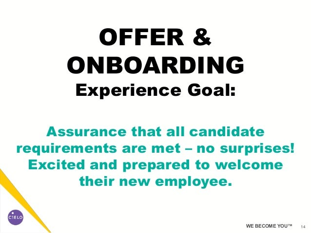 14WE BECOME YOU™ OFFER & ONBOARDING Experience Goal: Assurance that all candidate requirements are met – no surprises! Exc...