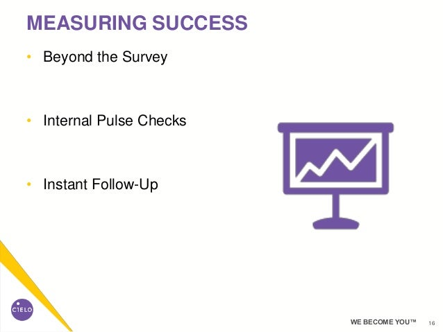 16WE BECOME YOU™ • Beyond the Survey • Internal Pulse Checks • Instant Follow-Up MEASURING SUCCESS