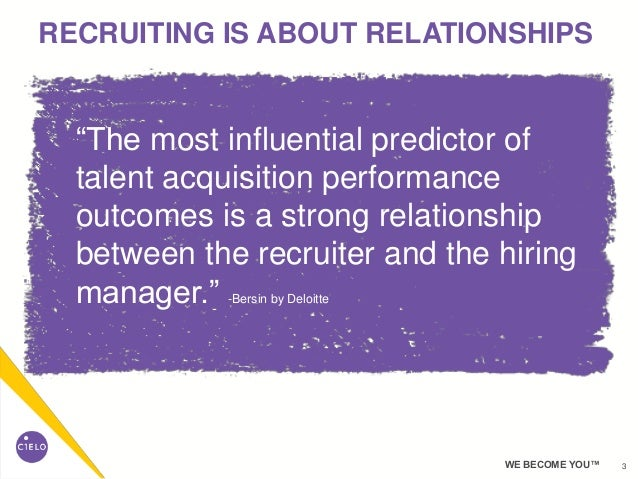 """3WE BECOME YOU™ RECRUITING IS ABOUT RELATIONSHIPS """"The most influential predictor of talent acquisition performance outcom..."""