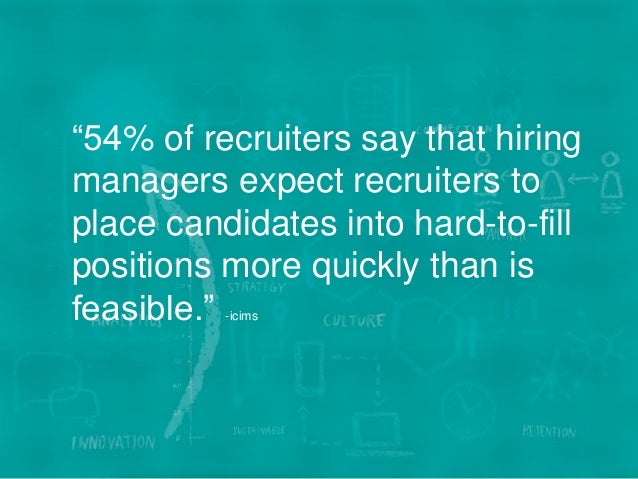 """7WE BECOME YOU™ """"54% of recruiters say that hiring managers expect recruiters to place candidates into hard-to-fill positi..."""