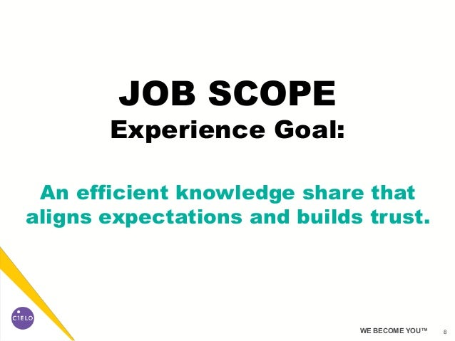 8WE BECOME YOU™ JOB SCOPE Experience Goal: An efficient knowledge share that aligns expectations and builds trust.