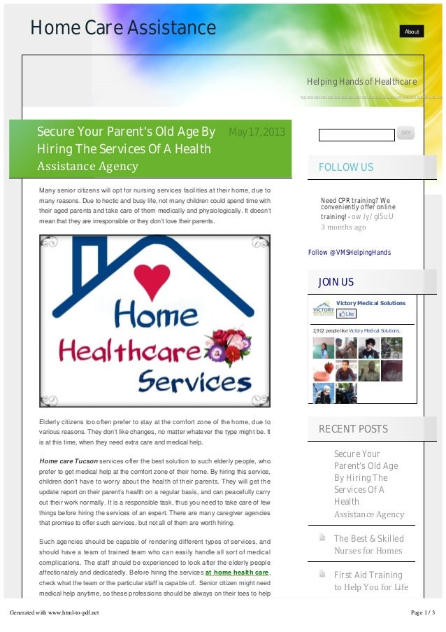 Home Care Assistance AboutHelping Hands of HealthcareFollow @VMSHelpingHandsNeed CPR training? Weconveniently offer online...