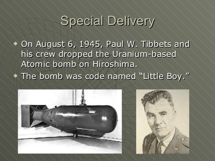an introduction to the drop of atomic bomb little boy on japan by enola gay Hiroshima: dropping the bomb - hiroshima - bbc  re-telling every memory from the day the world first witnessed the horrors of atomic warfare  the biggest hydrogen bomb ever dropped compared.
