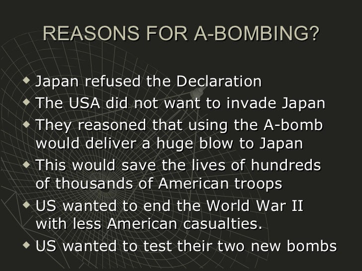 an essay on the atomic bomb Free essay: apush dbq as world war ii was coming to an end during 1945, the creation of one of the most destructive weapons known to humanity occurred within.