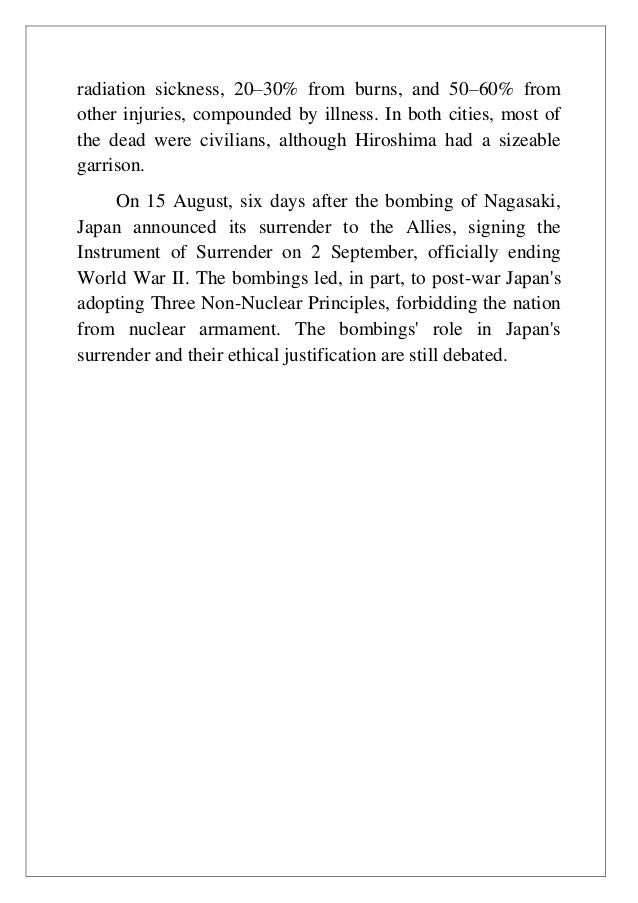 an analysis of the atomic bomb disaster in japan and the devastated cities hiroshima and nagasaki du The decision to drop the atomic bomb on hiroshima and nagasaki the atomic bomb €€€by the time of the bombing of hiroshima, many of japan's large cities.