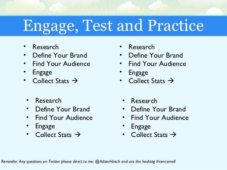 Engage, Test and Practice <ul><li>Research </li></ul><ul><li>Define Your Brand </li></ul><ul><li>Find Your Audience </li><...