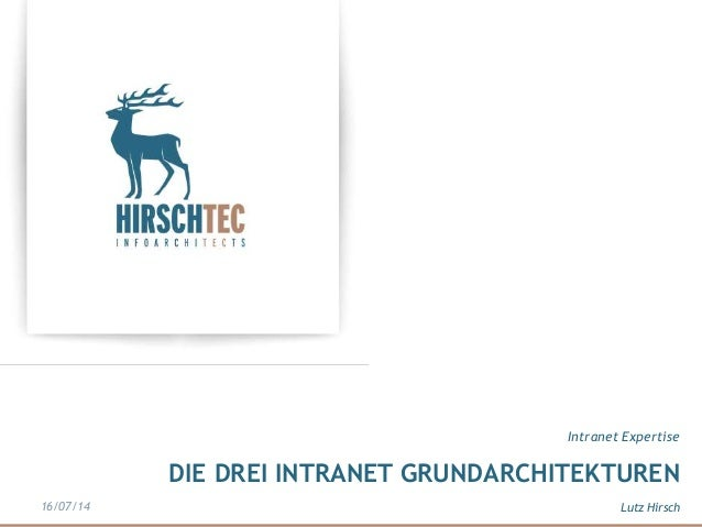 DIE DREI INTRANET GRUNDARCHITEKTUREN Intranet Expertise Lutz Hirsch16/07/14