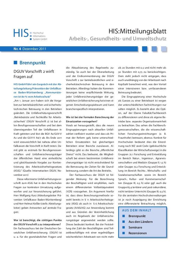 HIS:Mitteilungsblatt                                                   Arbeits-, Gesundheits- und UmweltschutzNr. 4 Dezemb...