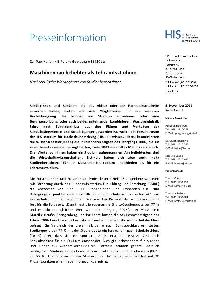 Zur Publikation HIS:Forum Hochschule 18|2011:Maschinenbau beliebter als LehramtsstudiumNachschulische Werdegänge von Studi...