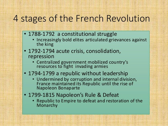 the vital stage of the french revolution Hist 4c/marcuse: not handed out(this only for your information and historical literacy) the french revolution: phases and dates estates general (3 orders: clergy, 300 reps.